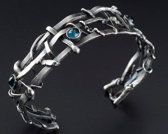Recycled Silver Woven Bracelet with Topaz