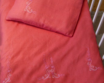 FREE SHIPPING Linen  Bedding Set 3pcs, Baby Bed Linen, Nursery Bedding, HANDMADE, Pink, Embroidered Kids Bed Set