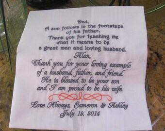 Personalized Father of the Groom Embroidered Wedding Handkerchief Wedding Gift Keepsake Fabors by Simply Sweet Hankies