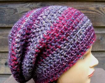 womens crocheted slouchie beanie ladies crochet slouch hat girls crochet hat wild iris multi colored  9225