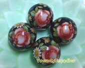 4 pcs, 16mm Japanese Red Rose Pattern Round Black Tensha Bead