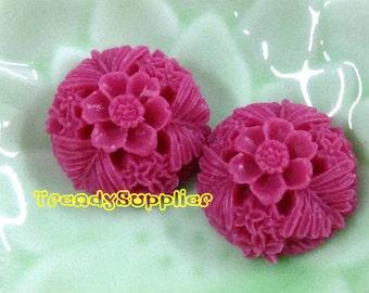 NEW ITEM - 4 pcs 20mm Round Flower Cabochons, Carmine  (137)