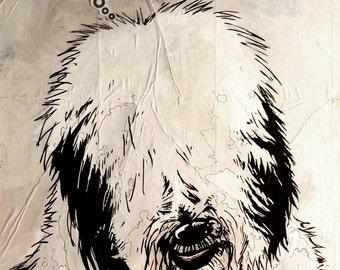 English Sheepdog - 8x10 Art Print - Love - Dog