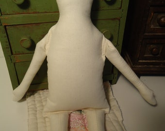Primitive Muslin Doll body-blank-unstained muslin-rag doll-Jean