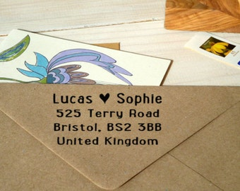 Contemporary True Love Return Address Olive Wood Stamp
