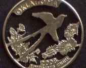 Oklahoma, Oregon, Pennsylvania, Rhode Island, South Carolina State Quarter Hand Cut Coin Jewelry