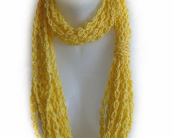 Lemon yellow infinity scarf, chain scarf, circle scarf, handmade, soft, crochet, accessory, lady gift