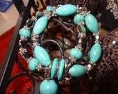 Turquoise Double Bracelate, Stretch Double Bracelet, Heart Double Bracelet