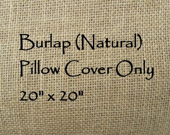 Burlap Pillow Cover 20x20 (Natural) - Pillow Cover Only-JD Designs
