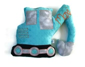 Digger Pillow, Personalized, Custom Construction Truck Plush Pillow, Toddler Plush Toy, Baby Shower Gift, Custom MADE TO ORDER