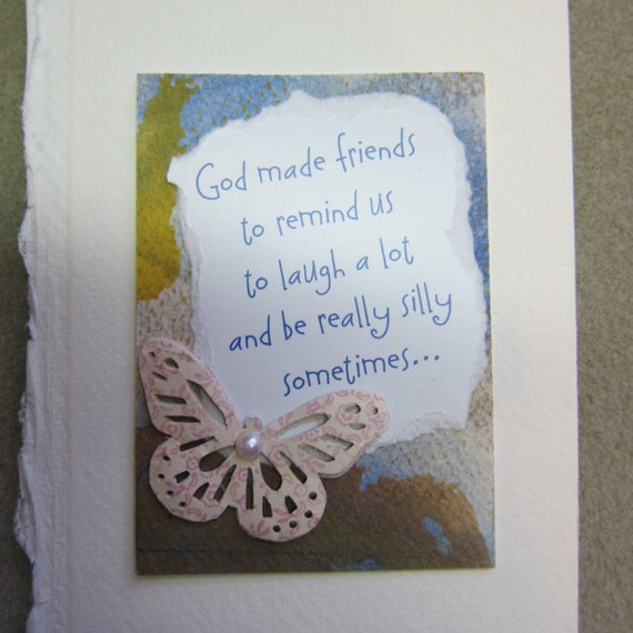 God Made Friends, ACEO original watercolor collage upcycled words butterfly, 249