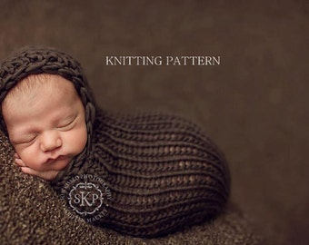 KNITTING PATTERN - Hooded Cocoon - newborn, baby, diy, printable, instant download