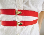 Cherry Red Suspender Belt, with Gold plated Clips, Holiday sparkle