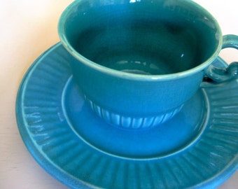 Vintage Turquoise cups and saucers set of 2