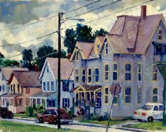 North Adams Houses. 11x14 Oil on Panel, Plein Air Realist Landscape, Signed Original Impressionist Fine Art, Original Oil Painting
