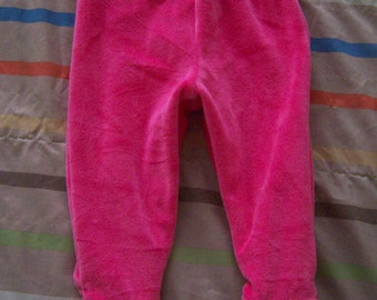 Footie Pajama Pants 0-6 M Month Pink Cotton Velour