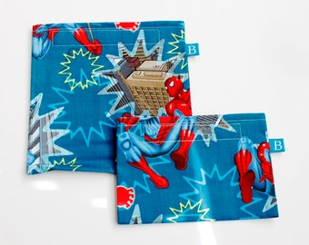 Reuseable Eco-Friendly Set of Snack and Sandwich Bags in Spiderman Fabric