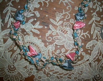 1 foot of this ribbon work silk or rayon with metallic 1920s garland in beautiful shades