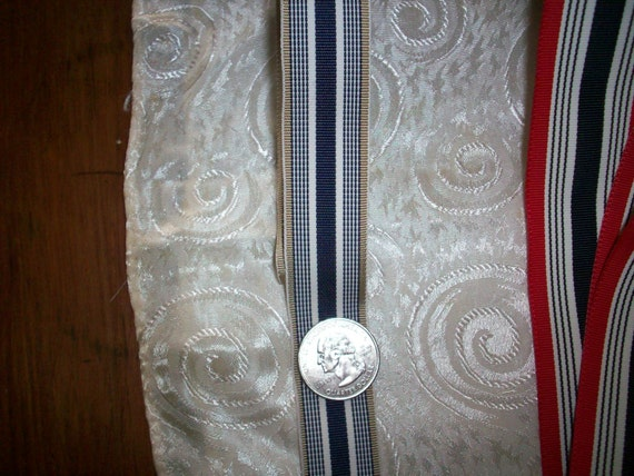 grosgrain ribbon stripe in navy blue, white, and taupe