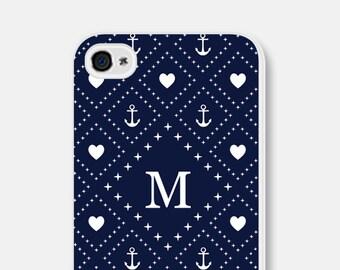 iPhone 6 Plus Case Personalized iPhone 6 Case Monogram iPhone 5c Case Anchor iPhone 5 Case Navy iPhone 5 Case Blue iPhone 5s Case Nautical