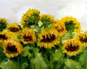 Sunflower Painting - Dutch Sunflower Painting - Original Oil Painting - Yellow Painting - Dutch Flower Painting - Netherlands Sunflower