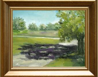 Original Oil Painting - Shadow Tree Painting - Landscape Painting - Dutch Oil Painting - Nancy van den Boom Painting