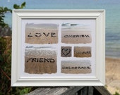 Beach Theme Friend Photo Print Collage- beach stone words for friend, framed beach art, unique friend gift, bff best friend gift, friendship