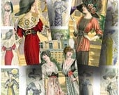 French Fashion Digital Collage Sheet ON SALE!!!  Ladies, Hat, Gown, Dress Digital Download Vintage Fashion Domino Size #3 INSTANT Download