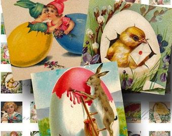 Vintage Easter ON SALE!!! Digital Collage Sheet / Digital Download / Bunny, Chick, Egg Cute Children 1 Inch Square #4 / INSTANT Download