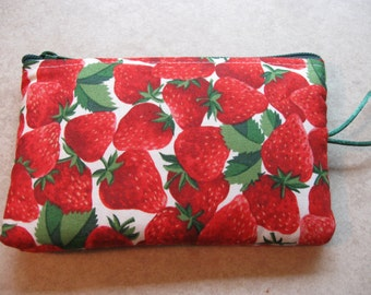 red and green strawberry print makeup jewelry padded bag