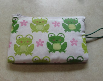 green frogs and pink flower print padded makeup jewelry bag
