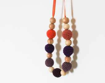 Orange Purple Eggplant Nursing Necklace / Crochet Teething Necklace Made In Israel by CasaDeGato
