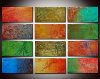 Original Abstract Painting,12 panels, Colorful Painting, Sculpted Textured Painting, Abstract Art ,24x36, Colorful Abstract panels