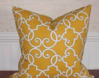SALE ~ Decorative Pillow Cover: Designer 18 X 18 Accent Throw Pillow Cover Trellis Design in Yellow and White