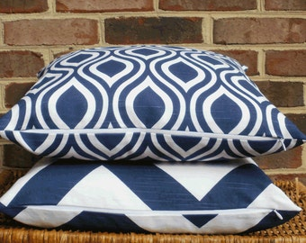 SALE ~ Decorative Pillow:  18 X 18 Designer Accent Pillow Cover in Large Mod Geo Navy and White...Gifts For Her...Home & Living...Home Decor