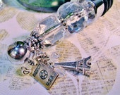 Wine Bottle Stopper Eiffel Tower Themed Travel Charms & Crystal Clear Beads