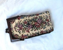 REDUCED PRICE Petit Point Tapestry Eyeglass Case Lucite Frame Clasp Hong Kong Vintage 60s