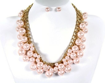Wedding Jewelry Set, Pink Pearl Bridal Necklace, Vintage Inspired Necklace Earrings,Statement Necklace, Bridesmaids Jewelry, Fashion Jewelry