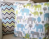 Blue Gray Green Pillow Covers, Childrens Throw Pillow, Cushion Covers, Blue Gray Green Elephant Chevron Trunk Tales, Combo Set Various Sizes