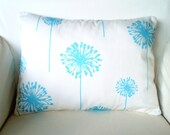 Aqua Dandelion Lumbar Pillow Cover,  Throw Pillow, Cushion, Girly Blue White Dandelion, Aqua Blue Pillow, Bed Chair, 12 x 16  or 12 x 18