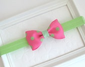 Pink and Green Baby Bow Headband, Pink Polka Dot Hair Bow, Baby Headband, Infant Headband, Newborn Headband, Preppy Hair Accessories