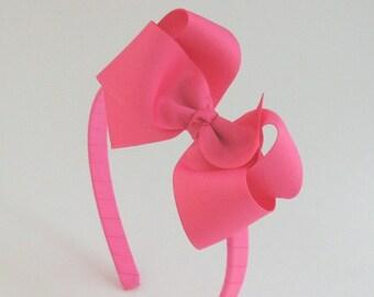 Hot Pink Hair Bow Headband, Little Girl Headband, Big Girl Headband, Hard Headband with Bow, Toddler Headband, Girls Hair Accessories