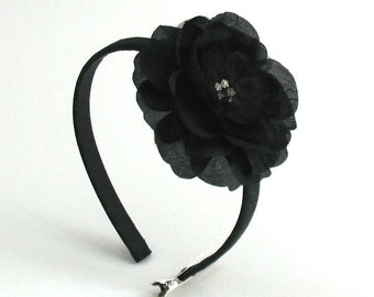 Black Flower Headband, Flower Girls Hair Accessory, Rhinestone Flower Headband, Big Girl Hard Headband, Girls Headband, Photo Prop