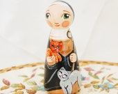 St Gertrude of Nivelles Catholic Saint Doll - Wooden Toy - Made to Order
