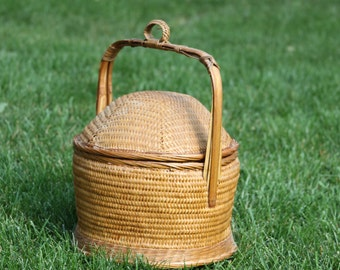 Bamboo Beehive Style Basket with handle and lid Large vintage woven domed Basket