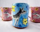 Shepard Dog Coffee Mug Pottery Clay Majolica Black Brown Grey on Blue 14 ounces