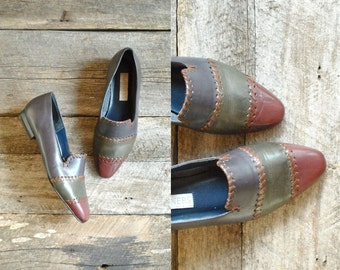 Patchwork Loafers Size 37.5   // Leather Flats Sz 7  //   QUE sera SERA