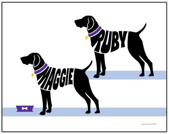 Personalized Pair of German Shorthaired Pointers Silhouette Print - Unframed Dog Name Art