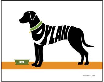 Personalized Rhodesian Ridgeback Print, Custom Dog Wall Art, Archival Ink Name Art Print