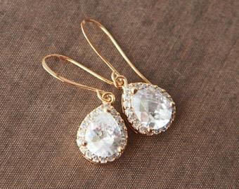 Gold Earrings,Dangle Earrings,Simple Earrings,Bridesmaids Gift,Bride Earrings,Bridesmaids Earrings